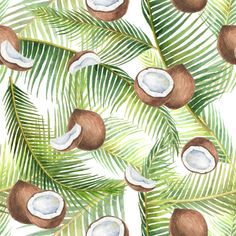 Watercolor seamless pattern with tropical green leaves and coconuts isolated on white background. Vintage Floral Tattoos, Fruits Drawing, Apple Watch Wallpaper, Sunflower Wallpaper, I Wallpaper, Stock Foto, Surface Pattern, Cute Wallpapers, Illustration Art