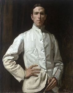 Hugh Ramsey - Self-portrait. Note the absolute gorgeousness of technique on the jacket. Tragically, Ramsay, an Australian painter, died young - just before his birthday. Think of the wonderful paintings we were deprived of. Australian Painters, Australian Artists, Selfies, Ashcan School, Google Art Project, Military Looks, National Portrait Gallery, Portrait Art, Portrait Paintings