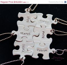 Graduation Gift- Unique Personalized Gift for friends/BFF-Hand Stamped Necklace-Add as many puzzle pieces as needed & they all fit together! on Etsy, $13.50