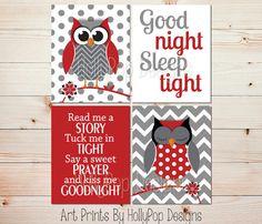 Owl Nursery Wall Art Red Gray Nursery Decor by HollyPopDesigns
