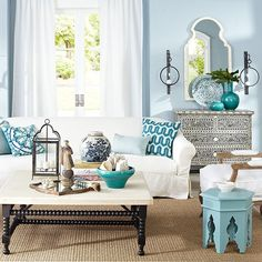 Moroccan style living room inspiration via Lifestyle.com… Below Marmont Pendant lamp via Serena and Lily Moroccan inspiration for you apartment or home. Love blue and white. Via Wisteria.com