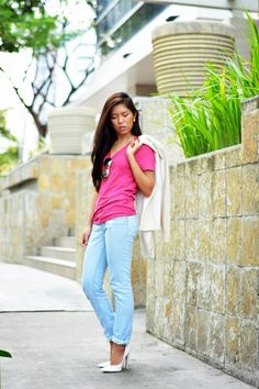 Shop this look for $83:  http://lookastic.com/women/looks/white-blazer-and-neon-pink-v-neck-t-shirt-and-light-blue-jeans-and-white-pumps/3313  — White Blazer  — Neon Pink V-neck T-shirt  — Light Blue Jeans  — White Leather Pumps