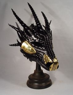 Bob Basset's Lair – Black leather and brass Dragon mask Mascarade Mask, Masquerade, Fantasy Armor, Fantasy Weapons, Dragon Mask, Dragon Armor, Horse Mask, Wolf Mask, Carapace