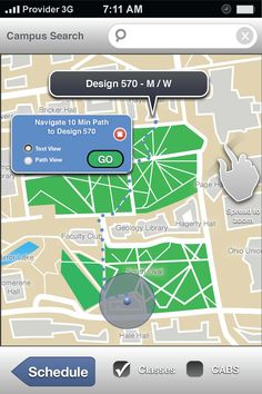 This thesis investigates mobile wayfinding as an application, which proposes to assure efficient destination success and resource access. Currently, academic institutions are growing at a rapid rate and have underutilized resources due to limited visibility; mobile wayfinding can address some of these shortcomings. In large collegiate environments such as The Ohio State University, wayfinding systems appear to be lacking in clarity and location.