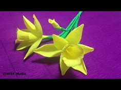 How To Make Origami Lily Crepe Paper Flower Easy  and fast step by step /crepe paper flower tutorial - YouTube