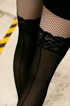 Sheer Lace Topped Stockings with Backseams make a great lightweight layer over fishnets!