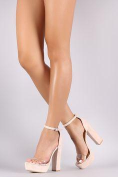 Qupid Suede Open Toe Chunky Platform Heel
