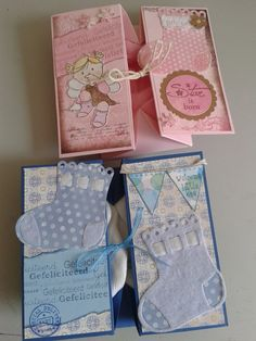 Simple box card for a baby boy or a baby girl, with cute babysocks in it