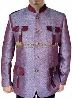 Mens Pink Jute 2 Pc Nehru Suit Hunting Style #nehrusuit #MensFashion #TrendyLook #FashionBlogger #StyleUp #Fashionistas #Jacket #ethnic