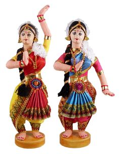 Pair of Bharatnatyam Dancers (Cloth)