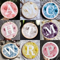 Monogram Hand Embroidery Hoop / Custom First Hand Sewn / Letter Hand Embroidery / Embroidered Gift Wall Decor - Personalized Monogram Embroidery Hoop Hand / Custom First Hand Embroidery Stitches Tutorial, Hand Embroidery Patterns, Embroidery Techniques, Embroidery Monogram, Diy Embroidery, Cross Stitch Embroidery, Embroidery Sampler, Indian Embroidery, Couture Main