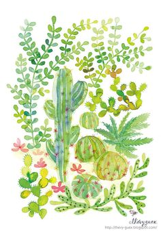 Cacti and Succulent Jungle Poster by thevysherbarium on Etsy, $24.00
