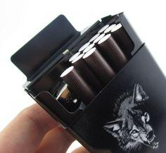 Gepersonaliseerde ultra dunne automatische sigarettenkoker koning wolf zwart Laifu merk mannelijke metalen e sigaretten dozen laser ontwerp forever
