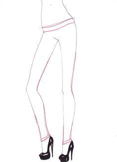 How to draw Skinny jeans step 2