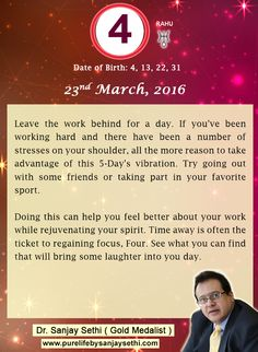 #Numerology‬ predictions for 23rd March'16 by Dr.Sanjay Sethi-Gold Medalist and World's No.1 #AstroNumerologist.