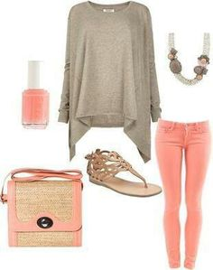 """""""Early fall attire"""" Love skinny jeans, with oversized sweaters! Fall Outfits, Summer Outfits, Cute Outfits, Peach Outfits, Beautiful Outfits, Look Fashion, Fashion Outfits, Womens Fashion, Simply Fashion"""