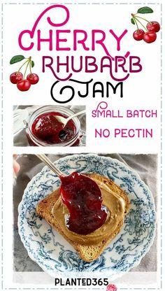 Cherry Rhubarb Jam No Pectin Small Batch Simple Quick Delicious Easy #nopectinjam #cherryjam #cherryrhubarbjam #smallbatchjam #prettyjam #cherrypreserves PIN IT Cherry Rhubarb Jam Recipe, Rhubarb Jam Recipes, Strawberry Rhubarb Jam, Rhubarb Juice, Beef Recipes, Vegan Recipes, Canning Recipes, Sweet Cherries, Foodblogger