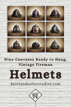 NINE CANVASES READY TO HANG, VINTAGE FIREMAN HELMETS! Fireman art for kids, fireman art paintings, fireman art and craft, drawing fireman art, Belinda fireman art, fireman art ideas, vintage fireman art, fireman art paintings canvases, fireman art project, fireman art pictures, fireman art work, fireman art design, hot fireman art, fireman art paintings Esty. #firemanartpaintings #drawingfiremanart #firemanartideas #vintagefiremanart #firemanartwork