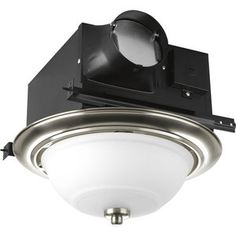 Bath Fans With Light Bathroom Fan - Brushed Nickel. I like the concept not the light or the colors.