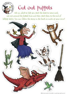 One of my FAVORITE Halloween books! :) Character Cutouts for Book, Room on the Broom by Julia Donaldson (from Kindergarten Nana) Preschool Literacy, Early Literacy, Literacy Activities, Toddler Activities, Gruffalo Activities, Kindergarten Writing, Educational Activities, Theme Halloween, Halloween Activities