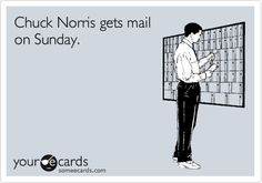@Meghan Nicole I started looking for Chuck Norris jokes to pin...even I find the dumbest CN jokes hilarious but this one is the worst! Mail...on Sunday! WTF!