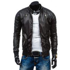 650444cb259 Moderná pánska kožená bunda čiernej farby - fashionday.eu