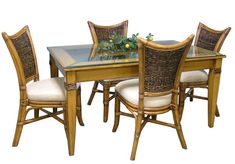 Beachwood Antique Finish 8-PC Dining SET Model 3850SET1 By Summit Design Wicker Furniture, Dining Table, Side Chairs, Natural Wood Furniture, Rectangular Dining Set, Side Chairs Dining, Wicker Dining Set, Dining Furniture, Clear Dining Chairs