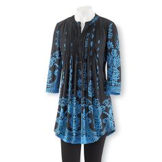 Pintuck Border-Print Tunic - Best Selling Gifts, Clothing, Accessories, Jewelry and Home Décor
