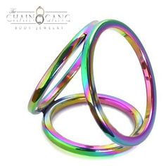 Rainbow Triple Cock Ring. $29.99. Here is a specialty piece for you. The Rainbow Triple Cock Ring, has 3 different Surgical Steel rings, to give your package a very unique look as well as some extra sensations. You put both your cock and balls through the largest ring, then your cock alone goes through the 2nd largest ring, and finally the smallest ring on the bottom is for your balls to go through. #cock #ring #surgical #steel #penis #rings #rainbow