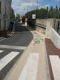 COLORED PAVEMENT bike lane, near Paris. Pavement, Engineering, Sidewalk, Bicycle, Symbols, Paris, Street, Color, Track Bicycle