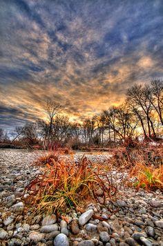 Puesta de sol de invierno en el río Boise Boise Idaho por Daveidaho.