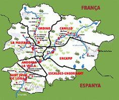 Mapa de Andorra. En letras rojas, las 7 parroquias en las que se divide Andorra,