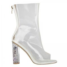 Selena High Ankle Peep Toe Boots In White Perspex With Glitter Heel ($52) ❤ liked on Polyvore featuring shoes, boots, ankle booties, heels, white bootie, glitter ankle boots, peep toe boots, bootie boots and peep-toe ankle booties