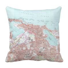 Vintage Map of San Juan Puerto Rico (1969) Throw Pillow - antique gifts stylish cool diy custom