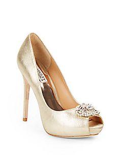 BADGLEY MISCHKA Fawn Ii Metallic Leather Peep-Toe Pumps. #badgleymischka #shoes #pumps