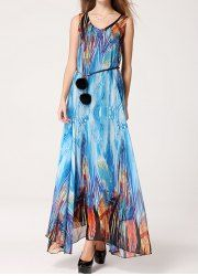 Sleeveless V-Neck Chiffon Women's Bohemian Dress