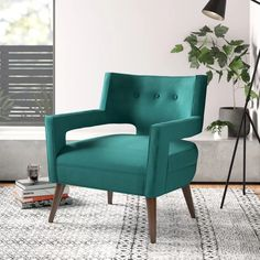 Sheer W Armchair Upholstery: Teal Upholstered Dining Chairs, Chair And Ottoman, Dining Chair Set, Armchair, Swivel Barrel Chair, Papasan Chair, Living Room Modern, Club Chairs, Modern Chairs