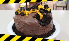This Construction Themed Birthday Cake is perfect for the heavy equipment operator in your life! Super easy to make, it will be a huge hit at the party!