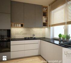 Projekt strefy dziennej 2 - Średnia otwarta kuchnia w kształcie litery l w aneksie z oknem, styl nowoczesny - zdjęcie od 4ma projekt