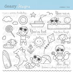 Summer Boy - Adorable Summer Stamps for crafts, scrapbooking and more.