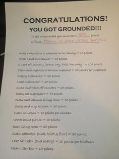 Earning points to get out of being grounded. #parenting