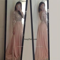 Gorgeous Handmade A Line Scoop Tulle Chiffon Sequins Prom Dress - PROM