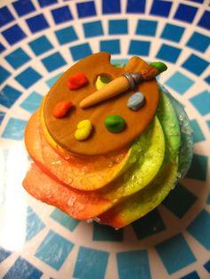 Fondant Cupcake Toppers  Artist Palette by EyeCandySugar on Etsy, $20.00