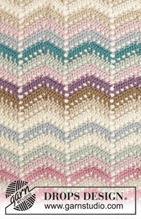 """Beach Party - Crochet DROPS blanket with zig-zag pattern in """"Cotton Light"""". - Free pattern by DROPS Design"""