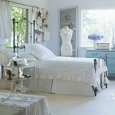 Cozy Cottage-Style Bedrooms:   Calming pastels, pretty florals, and vintage accessories come together in these bedrooms to create a cozy look that works, whether your home is a small country cottage or you just want it to feel like one. Antique Treasures  Flea market finds come together in this room to create a cottage retreat. A reproduction iron bed is topped with crisp white bedding. Salvage finds, such as the dressmaker form, cake stand-turned-jewelry box, and wire rack next to the bed…