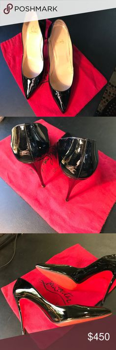 """Christian Louboutin So Kate Black Patent Leather Christian Louboutin black patent leather So Kate pumps feature a pointed toe and signature red leather soles. The heel is about 4 1/4"""" (approximate). Size US 10.5 / Euro 40.5 Includes red Christian Louboutin dust bag. Excellent used condition. Christian Louboutin Shoes Heels"""