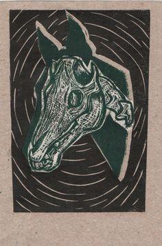 Jigsaw linoleum print.