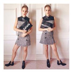 エマ・ワトソン(Emma Watson)の私服ファッション|ツイードのミニドレス