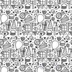 Black and White Birthday (seamless, repeating) handmade pattern design. ©ankepanke http://iheartpatterns.nl