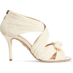 Charlotte Olympia Patrica pleated satin-crepe sandals (405 AUD) ❤ liked on Polyvore featuring shoes, sandals, ivory, high heel shoes, strappy sandals, slip on sandals, charlotte olympia shoes and strap high heel sandals